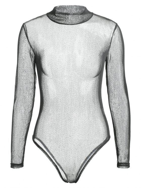 152bce1c2e 24% OFF  2019 Long Sleeve See Through Voile Bodysuit In BLACK M