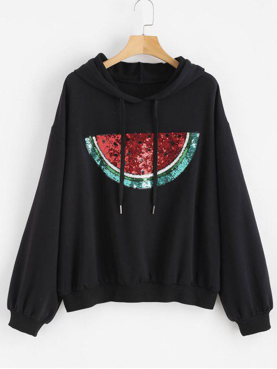 women's Sequined Watermelon Plus Size Hoodie - BLACK 2X