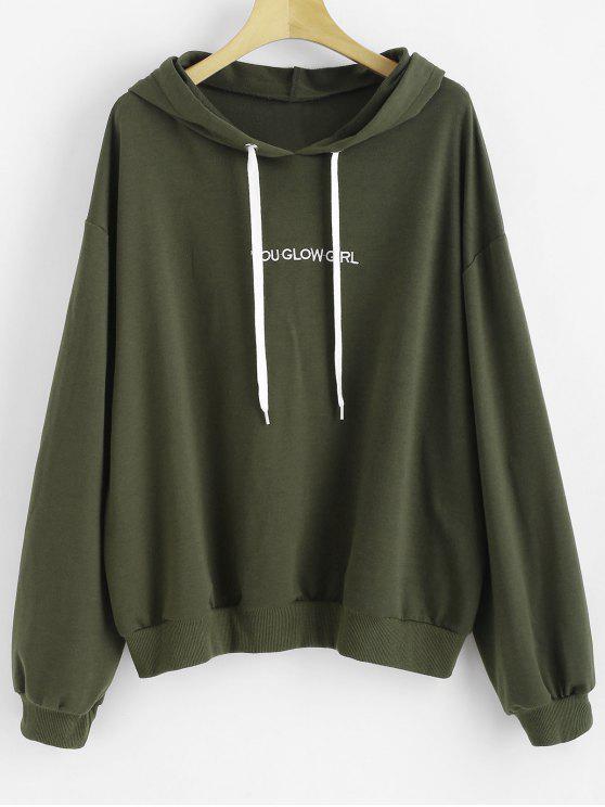Sudadera con capucha bordada con cuello redondo - Verde Marrón Claro 1X