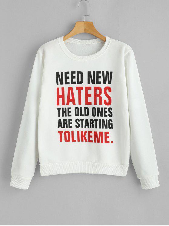 PRECISA NOVOS HATERS Graphic Fleece Sweatshirt - Branco L