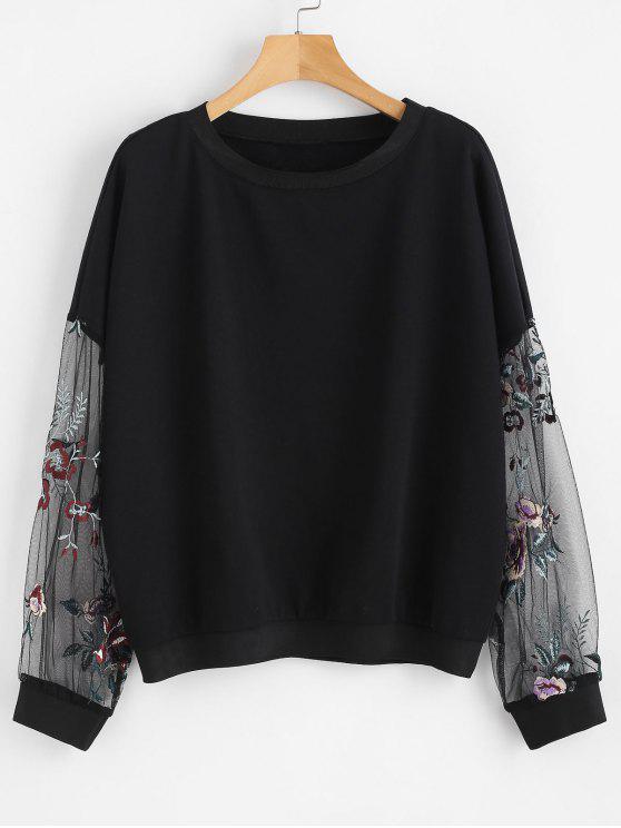 lady Floral Embroidered Mesh Panels Sweatshirt - BLACK M