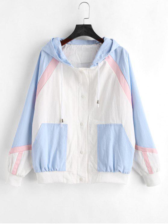 shop Color Block Tricolor Twill Jacket - MULTI M