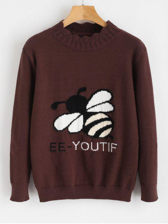 online Bee Graphic Knitwear - COFFEE ONE SIZE