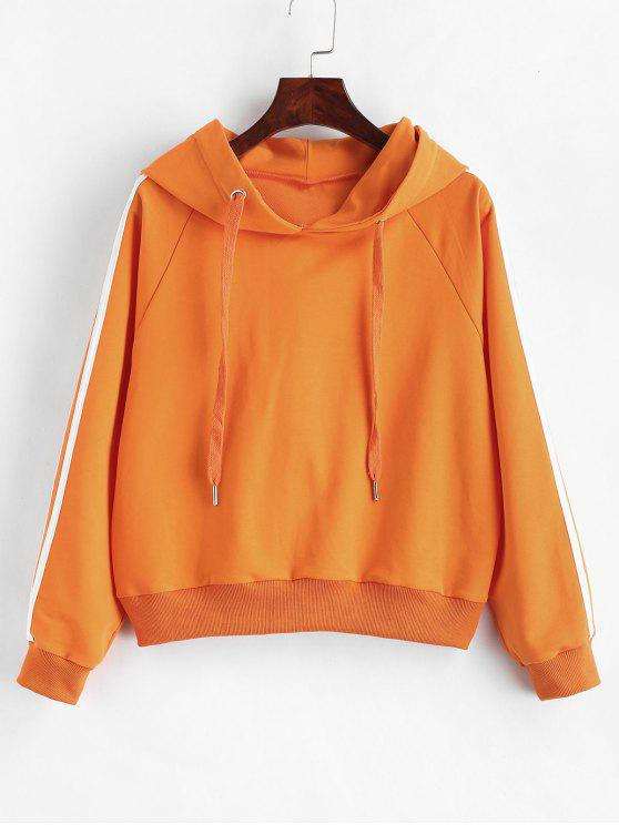 ladies ZAFUL Raglan Sleeve Stripes Trim Hoodie - DARK ORANGE S