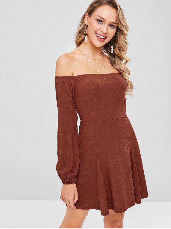 ZAFUL معطلة الكتف اكمام طويلة فستان ميني - كستنائي أحمر XL
