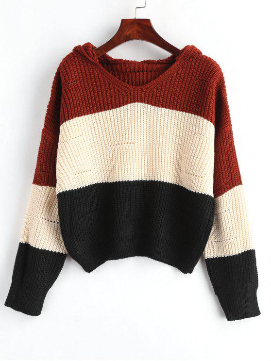 women's Hooded Color Block Drop Shoulder Sweater - APRICOT ONE SIZE