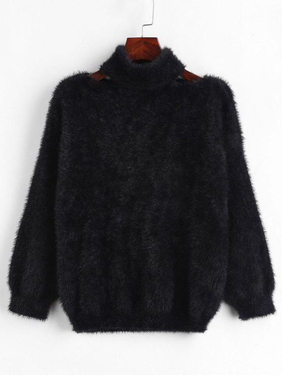 fashion Cut Out Pullover Fluffy Sweater - BLACK ONE SIZE
