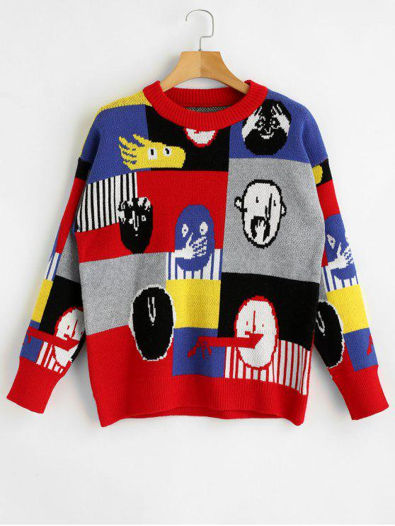 sale Cute Graphic Sweater - MULTI ONE SIZE