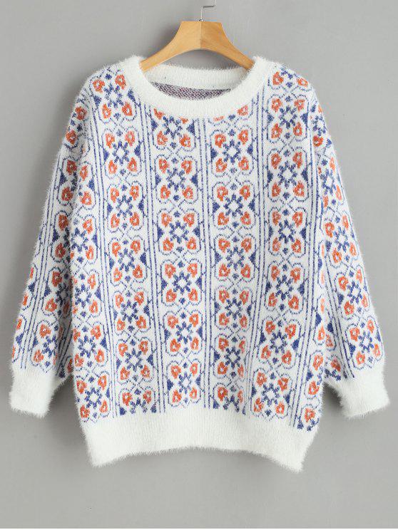 unique Christmas Snowflake Crew Neck Sweater - WHITE ONE SIZE