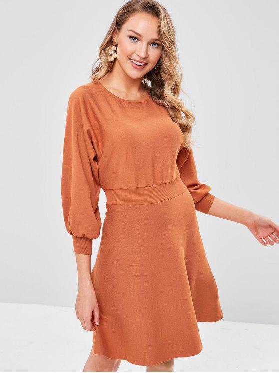 online Dolman Sleeves Cut Out Knit Dress - TIGER ORANGE ONE SIZE