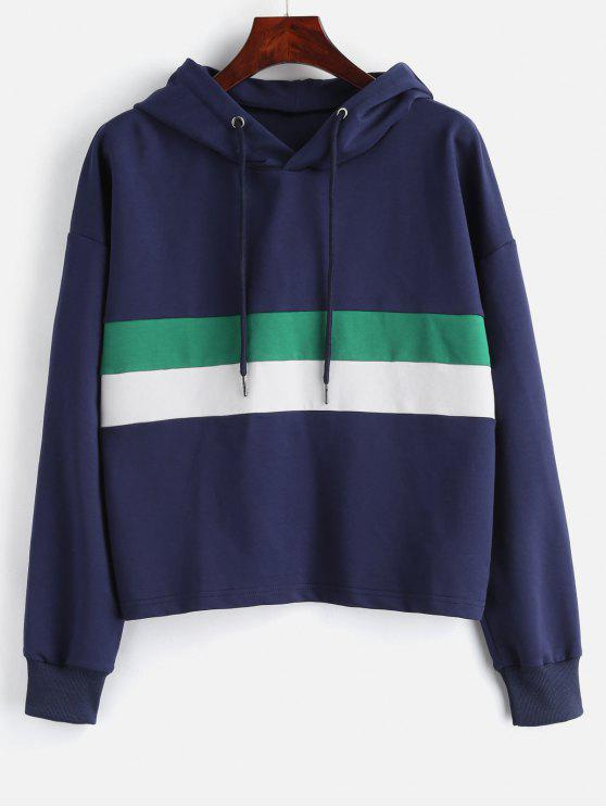 shop ZAFUL Loose Drawstring Color Block Hoodie - MIDNIGHT BLUE M