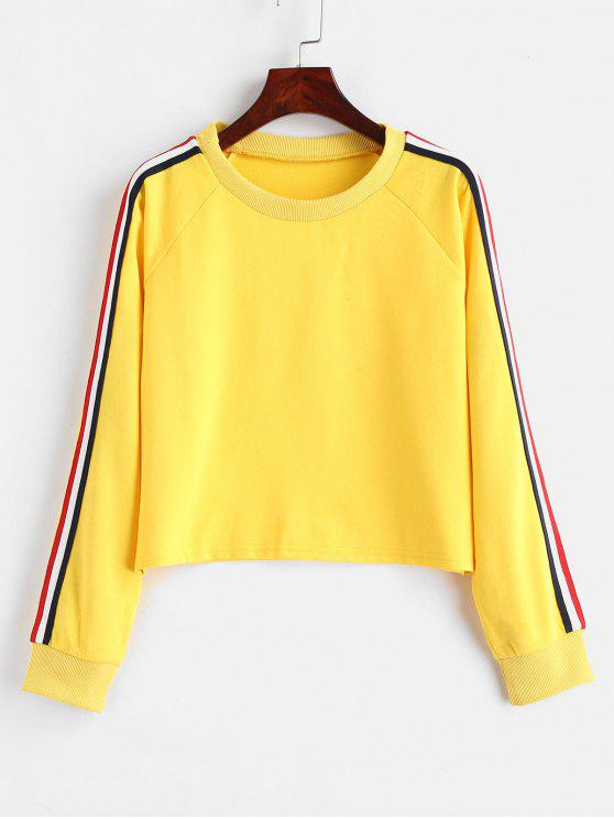 outfits Striped Raglan Sleeve Cropped Sweatshirt - YELLOW L
