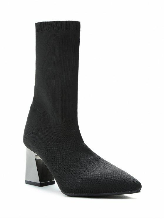 best Metallic Block Heel Mid Calf Sock Boots - BLACK 37