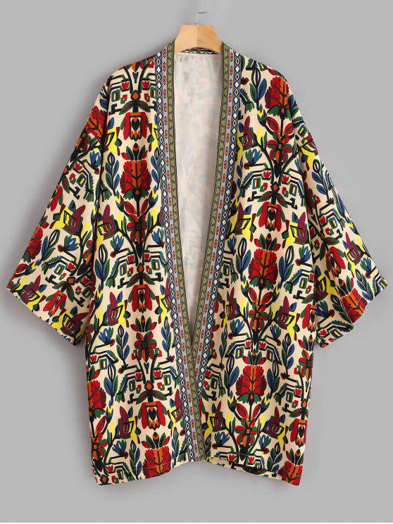 fashion Printed Plus Size Coat - MULTI 3X
