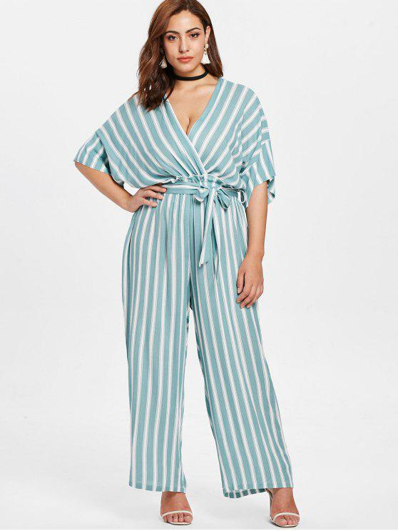 ladies Plus Size Striped Jumpsuit - MULTI 4X