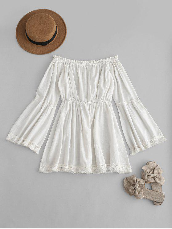 outfits Tassels Off The Shoulder Dress - WHITE L