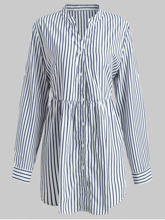 best Striped Plus Size Tunic Top - WHITE 1X