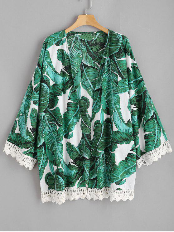 sale Palm Leaf Crochet Trim Plus Size Kimono - MULTI 1X