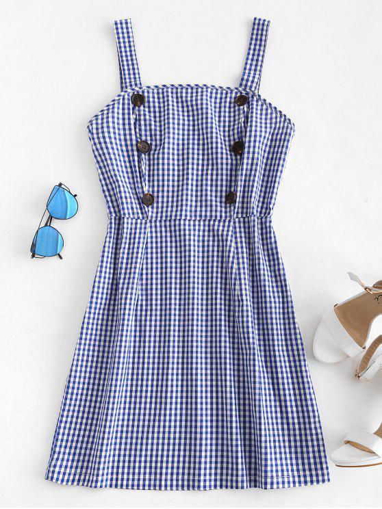 Mini robe en vichy boutonnée - Bleu Cobalt M