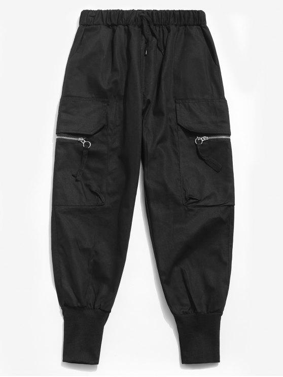 hot Side Zipper Pockets Harem Pants - BLACK M