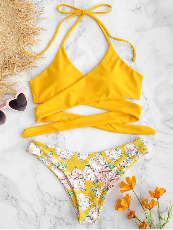 chic ZAFUL Halter Flower Criss Cross Bikini Set - RUBBER DUCKY YELLOW M