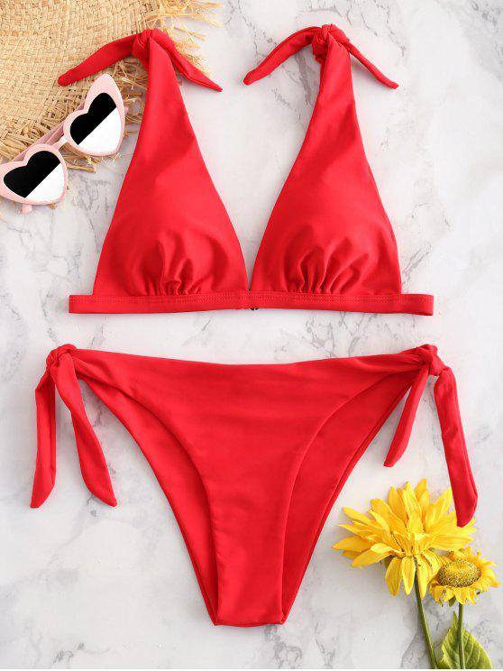 lady ZAFUL Tie Shoulder Padded Bikini Set - RED S