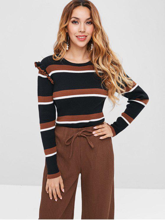 best ZAFUL Ribbed Ruffles Stripes Sweater - MULTI L