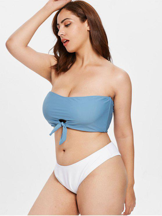womens ZAFUL Knotted Bandeau Plus Size Bikini Set - SILK BLUE L