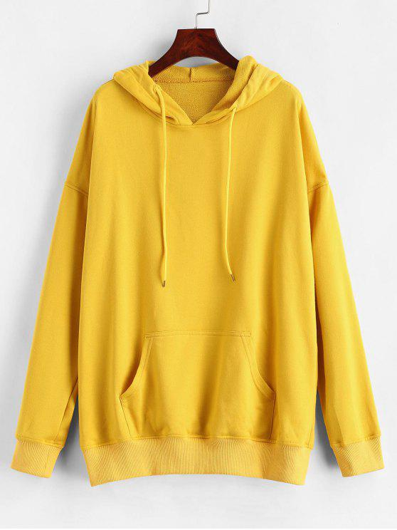 outfits ZAFUL Kangaroo Pocket Loose Longline Hoodie - YELLOW L