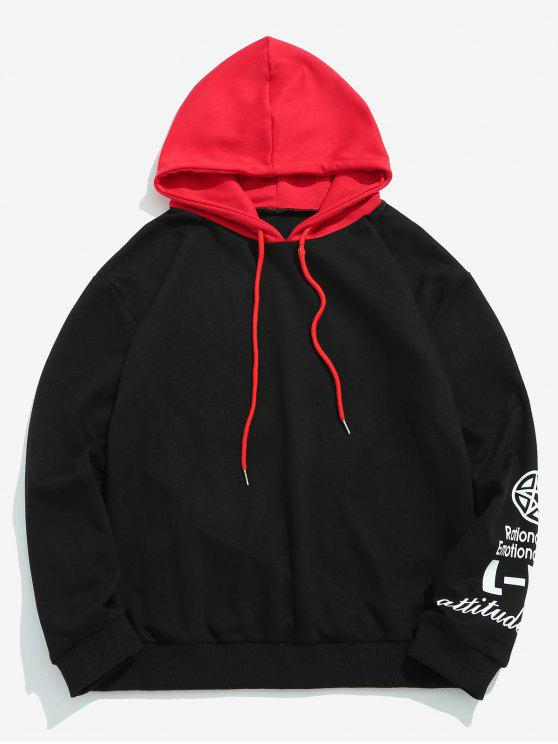lady ZAFUL Color Block Sleeve Graphic Hoodie - BLACK 2XL