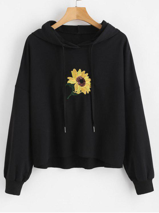 chic Sequin Flower Embroidered Hoodie - BLACK S