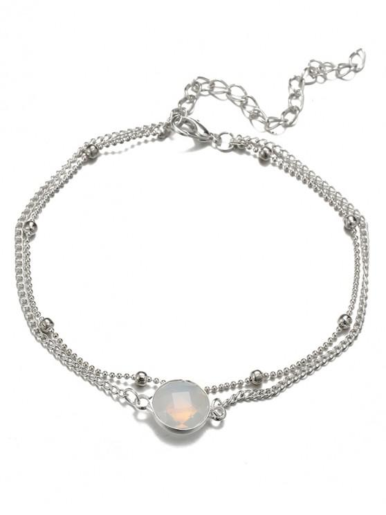 best Stylish Faux Gem Beach Chain Ankle - SILVER