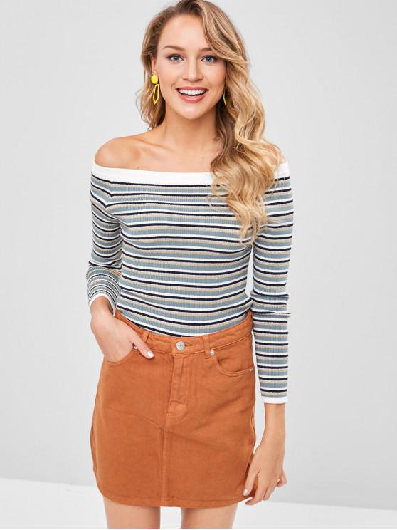 be804eace3d 26% OFF  2019 Metallic Thread Striped Off The Shoulder Sweater In ...