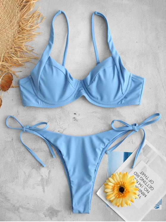 Bikini Con Ferretto E Nodo Laterale Di ZAFUL - Blu Denim S