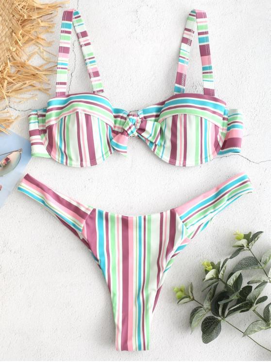 fancy ZAFUL Colorful Striped Underwire Bikini Set - MULTI S