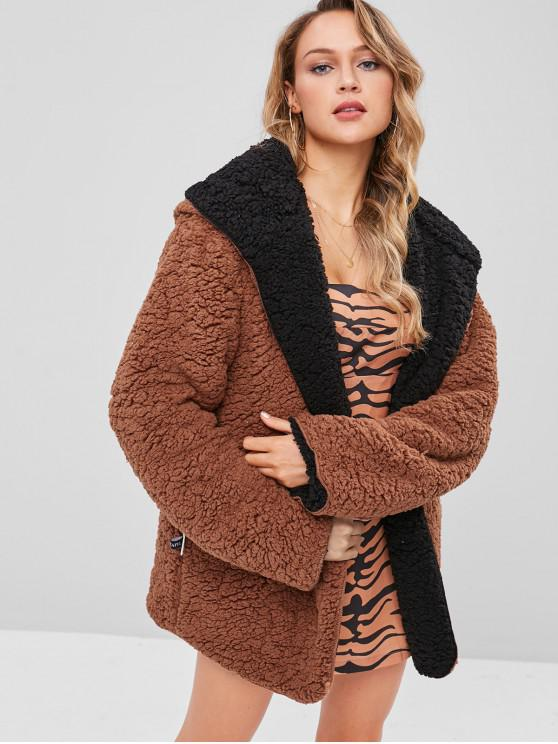 chic Hooded Open Front Lamb Wool Teddy Coat - BROWN L