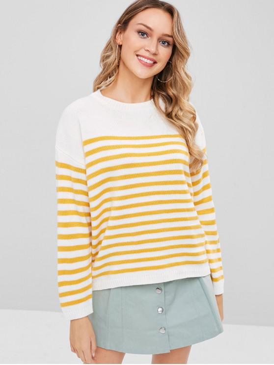 chic Striped Loose Sweater - BRIGHT YELLOW ONE SIZE