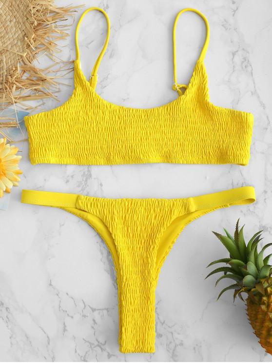 ZAFUL Bikini De Bralette De Smocked - Caucho Ducky Amarillo L