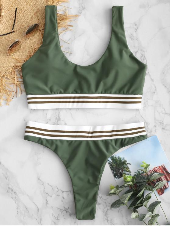 latest ZAFUL Tank Striped Trim Bikini Set - HAZEL GREEN L