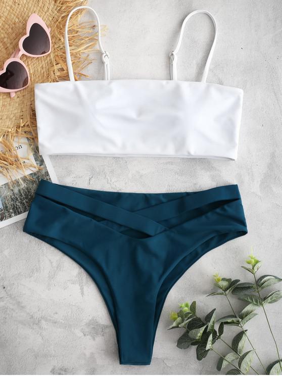 chic ZAFUL Cami Color Block Criss Cross Bikini Set - GREENISH BLUE M