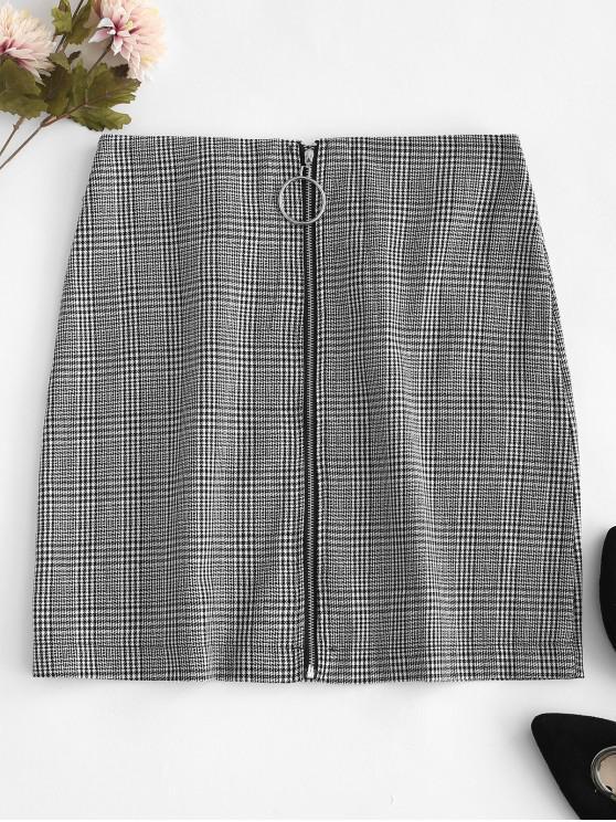 trendy O Ring Zip-up Houndstooth Skirt - WHITE L