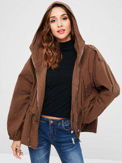 Hooded Drop Shoulder Jacket - Chocolate M