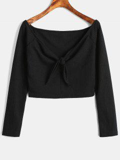 Off The Shoulder Tie Design Knitted Crop Top - Black M