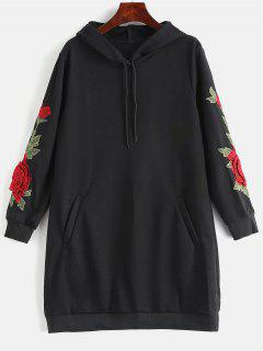 Floral Applique Hoodie Dress - Black Xl