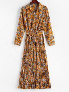 Pleated Floral Long Sleeve Shirt Dress - Caramel