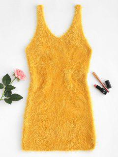 Low Cut Fuzzy Knit Tank Kleid - Goldgelb S