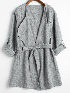 Belted Front Pockets Embellished Light Coat - Dark Gray 2xl