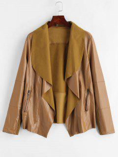 Open Front PU Leather Jacket - Dark Goldenrod L