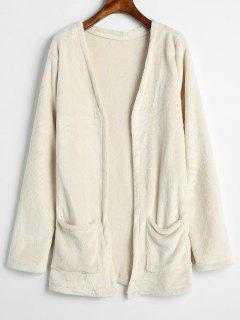 Solid Color Fleece Jacket - Warm White L