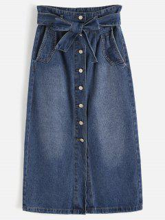 Slit Button Up Denim Skirt - Denim Dark Blue L